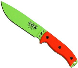 ESEE-6-Plain-Edge-Orange-G10-Handles-Venom-Green-Blade-with-Black-Sheath
