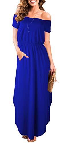 Women Off Shoulder Empire Waist Short Sleeve Slit Party Long Maxi Dress Pockets (S, Royal Blue Maxi Dress)