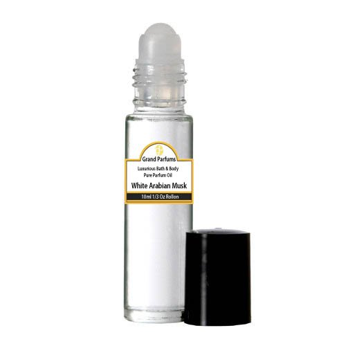 Arabian Musk Perfume Oil - Grand Parfums Perfume Oil - Uncut Alcohol Free 100% Pure Body Oil White Arabian Musk Fragrance 1/3 oz bottle with Roll on