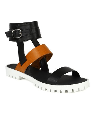 Qupid New Women Leatherette Two Tone Ankle Cuff Gladiator Flat Sandal BJ26 - Black (Size: 7.0)
