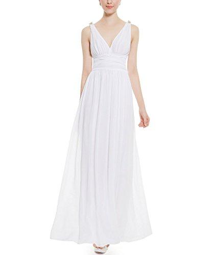 Aurora Maxi Sera Bianco Lungo Elegante collo Sposa Donne V In Del Da Vestito Chiffon rwIrUYq