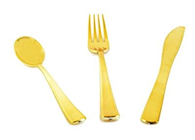 Green Direct Gold Plastic Cutlery Set, Knives, Forks, Spoons, Combined Pack Ready to Serve 25 Guest