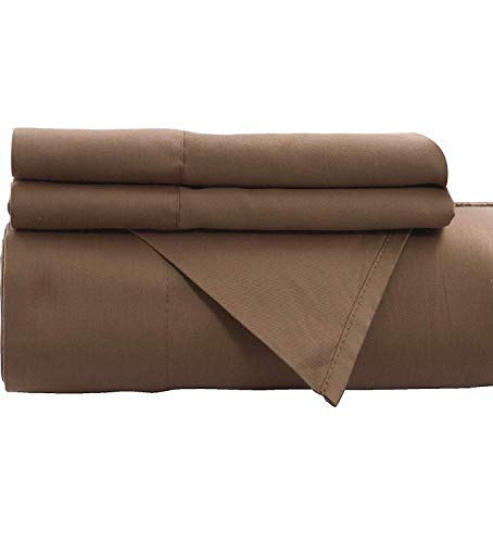 Empire Furniture USA Cynthia Adams Collection 100% Cotton Soft Bed Sheets 200 Thread Count 4 Piece Sheet Set (Wooly Mammoth Taupe, Full Size)