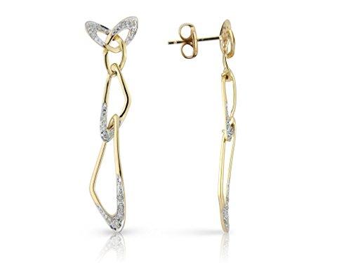 Or 9ct et Diamant styalised Art Nouveau papillon pendentif Pendentifs d'oreille avec molette