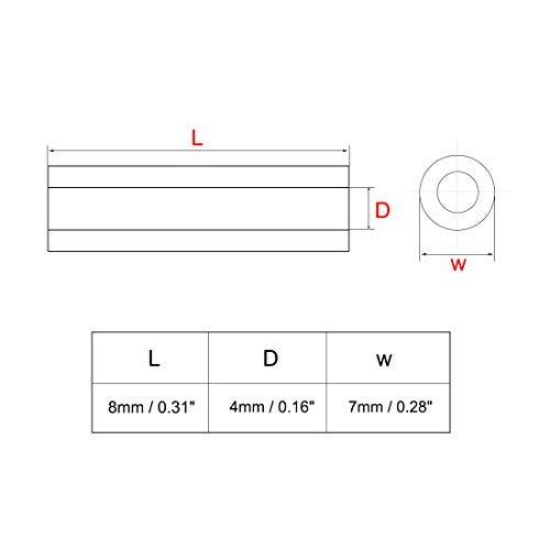 500pcs Nylon Round Straight Abutment Insulation Tube PCB Separators 4x7x8 mm