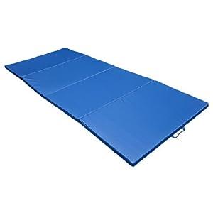 "Gymmatsdirect 6PPVC Cloth+EPE Foam Core Gymnastics Gym Folding Exercise Aerobics Mats Stretching Yoga Mat, Blue,4'x10'x2"""