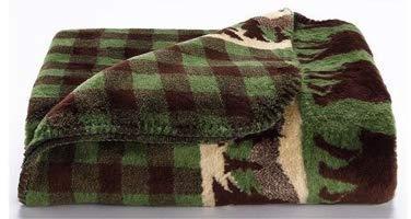 Denali Bear Plaid Green Single Sided Blanket