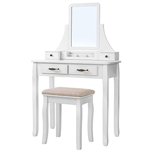 SONGMICS Vanity Set, 2 Large Sliding Drawers, Removable Makeup Organizer for Brushes Nail Polishes, Easy Assembly, Dressing Table with Mirror and Stool White URDT12W ()