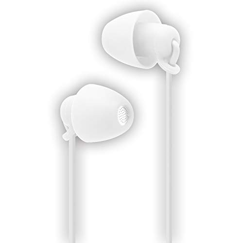 Price comparison product image FSC Sleep Earbuds,  Noise Isolating Headphones Earplugs Mic & Volume Control Sleeping,  Insomnia,  Side Sleeper,  Snoring,  Air Travel,  Meditation & Relax 3.5 mm Jack 1.2m (White)