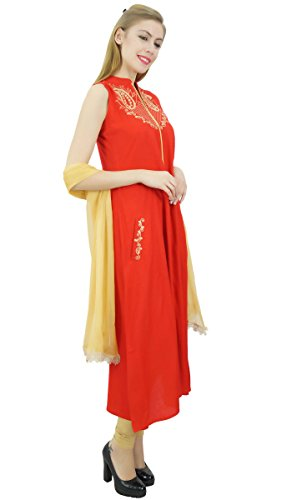 Rot bestickt Atasi Indian Beige Frauen Dupatta amp; mit Anzug Set Rayon Ethnic zIazO