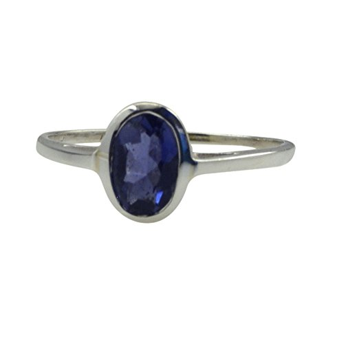 Jewelryonclick Genuine Iolite Silver Ring For Women Chakra Healing Blue Gemstone Size 5,6,7,8,9,10,11,12 (Gemstone Iolite Ring)