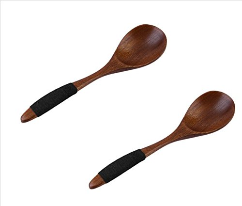 Areeratshop 2 Pieces / Lot 17cm Handmade Wooden Spoon Kitchen Cooking Utensil Tool Coffee Soup Dessert new arrival