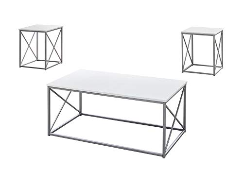 Monarch Specialties I 7951P Table Set, One Size, White