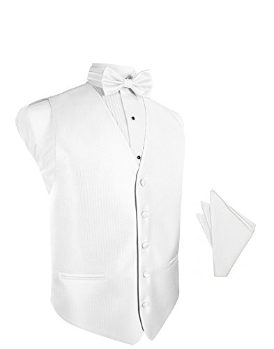 Pure White Herringbone Tuxedo Vest with Bowtie & Pocket Square Set ()