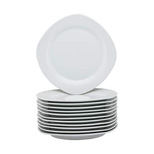 10 Strawberry Street CATERING-12-SQDINNER-W Catering Packs Square Dinner Plates, White (Online Melamine Dinner Sets)