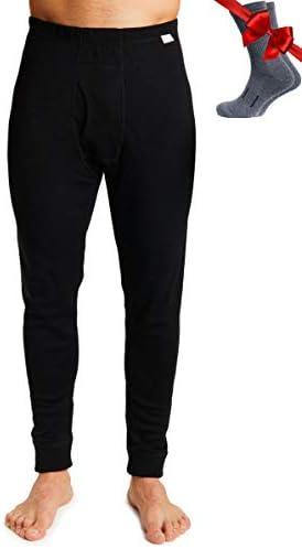 Merino.tech Merino Wool Base Layer Mens Bottom Pants 100% Merino Wool Midweight Thermal Underwear Long Johns + Wool Socks