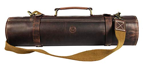 Leather Knife Roll Storage Bag | Elastic and Expandable 10 Pockets | Adjustable/Detachable Shoulder Strap | Travel-Friendly Chef Knife Case Roll By Aaron Leather (Walnut (Black Lining), - Large Knife Leather