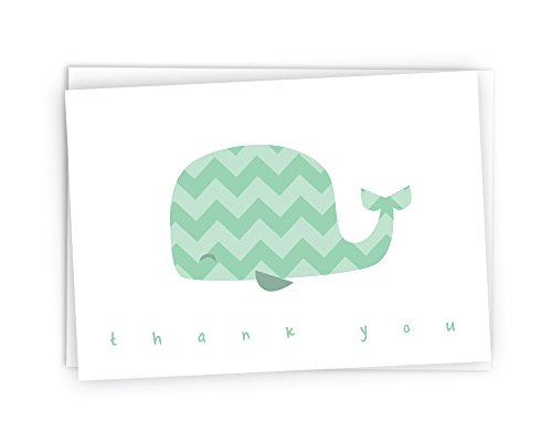 Colorful Chevron Whales Baby Thank You Note Cards - 48 Cards & Envelopes (Green) - Baby Boy Postage