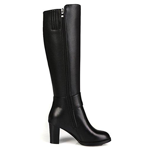 Nine Seven Genuine Leather Womens Round Toe Chunky Heel Side Zip Handmade Black Knee High Boots
