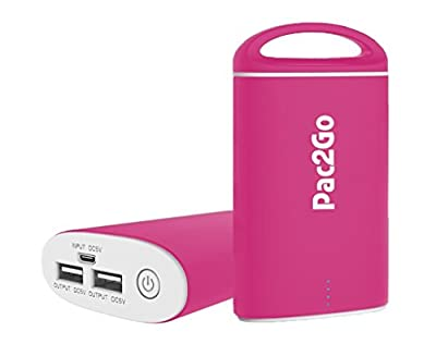Mobile Power Charger from Pac2Go Portable Charger 7500mAh External Battery Pack Power Bank with Smart Connect Technology for iPhone, iPad, iPod, Samsung, Smartphone and Tablet Battery Backup (Black)
