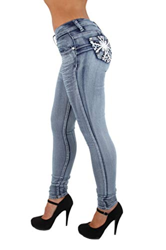 Jeans Skinny Embellished - Colombian Design, Butt Lift, Levanta Cola, Skinny Jeans in Washed Blue Size 17