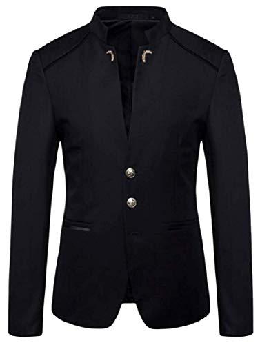 Men's Three Button Trendy Regular Fit Business Mandarin Collar Blazer Jacket Coat,XX-Smalll,Black