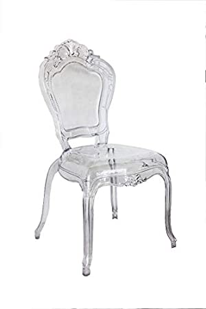 Keyhomestore Paire Deux Chaises En Style Baroque En Plexiglass Ghost