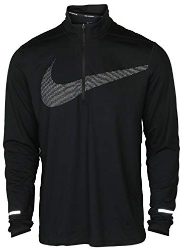 Nike Men's Dri-Fit Element 1/2 Zip Swoosh Running Top-Black-Medium by Nike (Image #1)