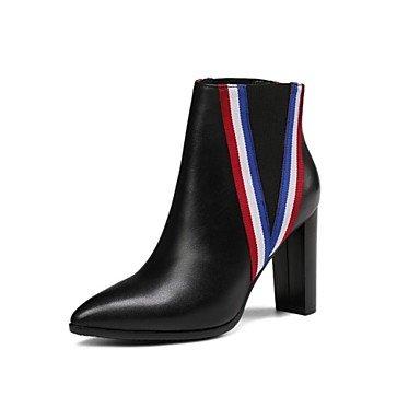 Botas UK6 EU39 Botas Negro Toe Zapatos Moda RTRY Señaló Botas Blanco Y Novedad Invierno Talón Cuero Mujer Para Calf CN39 Chunky US8 De Noche Mid Boda amp;Amp; Z0xZfw4qC