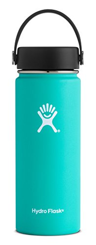 Hydro Flask 18 oz Double Wall Vacuum Insulated Stainless Steel Leak Proof Sports Water Bottle, Wide Mouth with BPA Free Flex Cap, Mint