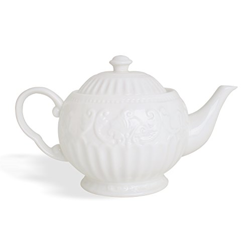 Carved Stripe 24-Ounce Teapot for Brewing Tea, White Ceramic 4-Cup Tea Pot ()