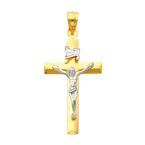 Petit Treasure - 14 ct 585/1000 Or Avec Deux Tons verehrten Crucifix Pendentif