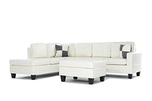 Soft touch Reversible PU Leather 3-Piece Sectional Sofa Set, White