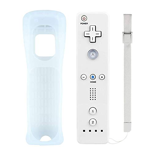 Wii Remote controller, Replacement Remote Will Controller With Free Silicone Case And Wrist Strap Perfect Fit For Nintendo Wii and Wii U (White-Third party product)