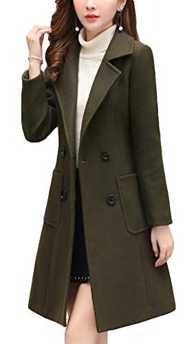 - Itemnew Women's Elegant Notched Lapel Double Breasted Knee Length Woolen Coat Jacket (Medium, Army Green)