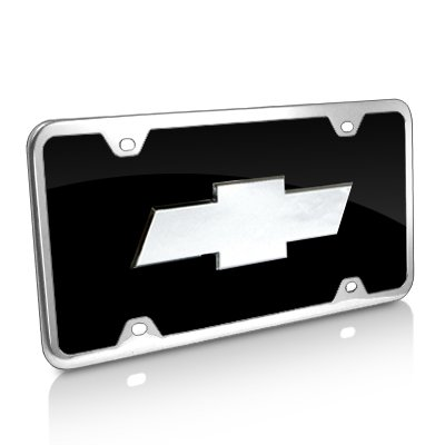 Au-Tomotive Gold, INC. Chevrolet 3D Logo Black Acrylic License Plate with Chrome Frame Kit