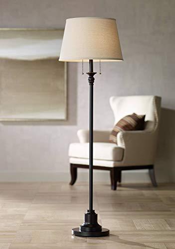 Spenser Traditional Floor Lamp Oiled Bronze Linen Fabric Drum Shade for Living Room Reading Bedroom Office - 360 Lighting