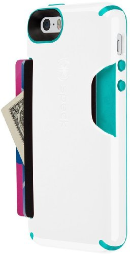 Speck Products CandyShell Card Case for iPhone 5/5S - White/Caribbean Blue by Speck (Image #1)