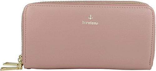 B BRENTANO Vegan Double-Zipper Wallet Clutch with Removable Wrist Strap (Logo - Pink) - Logo Clutch Wallet