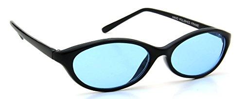 Retro Womens Sunglasses Black Plastic Frame Oval Blue Lens 100% UV400