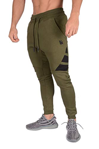 YoungLA Mens Joggers Soccer Training Pants Sweatpants with Pockets Cotton Gym Sweats 221 Olive ()