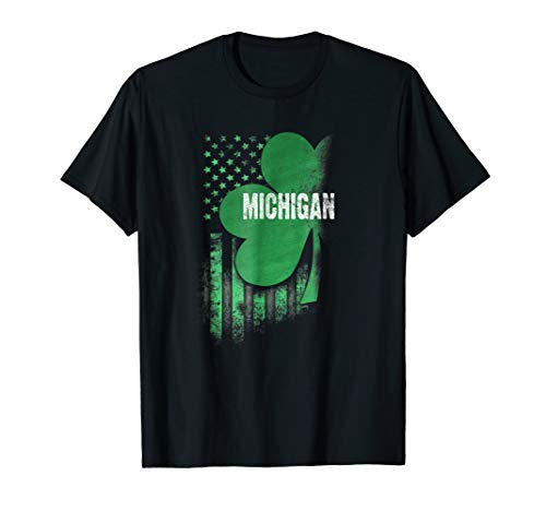 Michigan State USA Flag Irish Lucky Shamrock Patricks Day