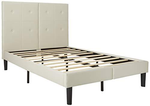 Olee Sleep Faux Leather Upholstered Bed Frame with Wooden Slats Platform, Full, White