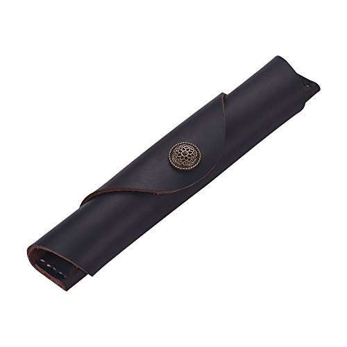 Vintage Handmade Leather Single Pen Case Holder Cowhide Fountain Pen Sleeve Roll Wrap Pen Pouch (DeepBrown Leather)