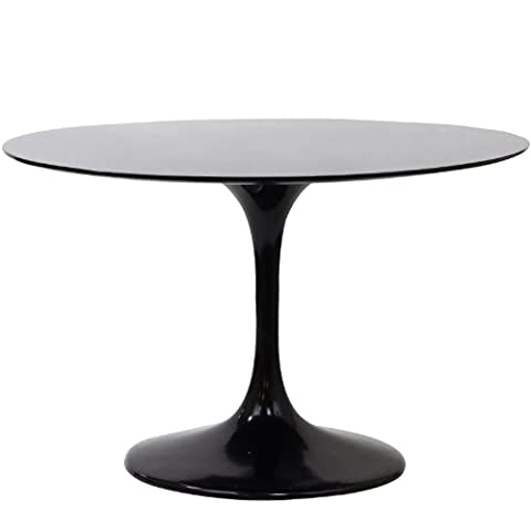 Modway Lippa 48 Inch Round Fiberglass Dining Table in Black - 48 Round Pedestal Dining Table