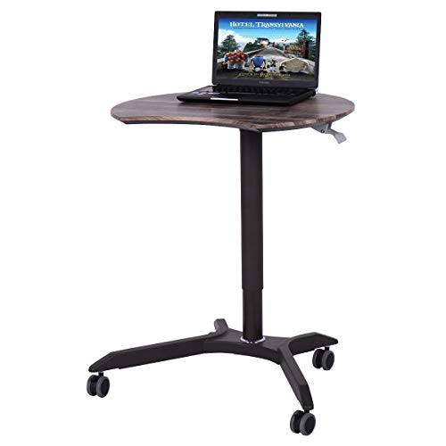 (Tangkula Laptop Desk Overbed Table, Mobile Desk Cart, Angle & Height Adjustable Laptop Stand Cart, Computer Desk with Smooth & Lockable Casters, Mobile Lap Workstation Notebook Cart (Walnut))