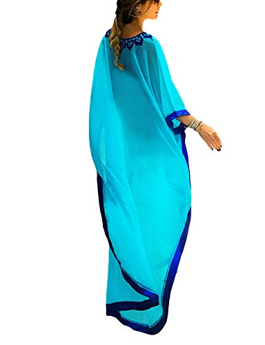 (Bsubseach Women Blue Embroidery Chiffon Swimwear Turkish Kaftans Swimsuit Cover up Caftan Beach Long Dress )