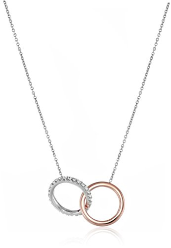 Roberto Coin Tiny Treasures 18k Rose and White Gold Diamond Entwined Circles Pendant Necklace (1/10cttw, G-H Color, SI1 Clarity), 16