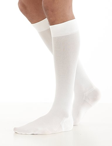 NEO G Energizing Daily Wear Mens Socks - LARGE - White - Medical Grade Quality, True Graduated Compression HELP aid circulation, revitalize tired, aching legs or swollen ankles, everyday comfort by Neo-G