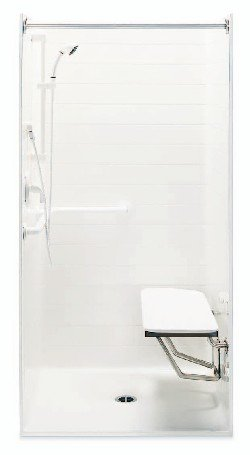 Lasco 1363BFSC-FRP ADA Handicap Shower Stall with Seat and Grab Bar - White